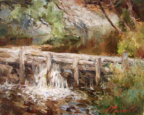 Painting by Azat Galimov Mountain Bulgaria. Dam on a river in the village Tanchevtsi.