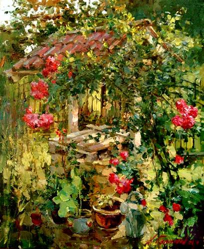 Painting by Azat Galimov Well in the garden of Amelia.