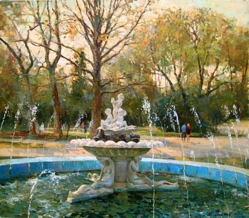 Painting by Azat Galimov The Evening beside fountain. The Sea Garden. Varna.