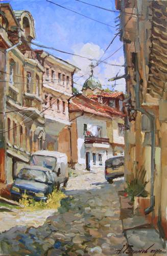 Painting by Azat Galimov  The Small street in Veliko Tyrnovo.