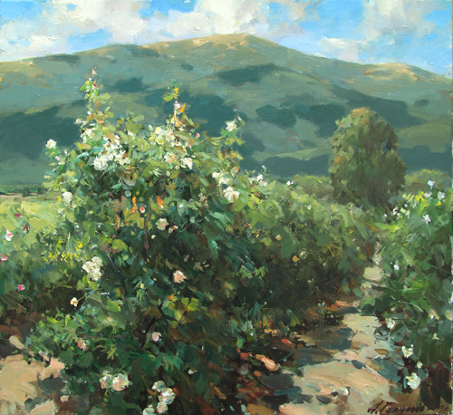 Painting by Azat Galimov  In the Valley of Roses. Kazanlak. Bulgaria.