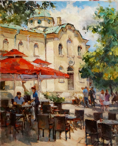 Painting by Azat Galimov Cafe at the church of St. Nicholas. Varna.