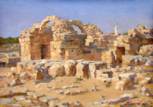 Painting Azat Galimov.Ruins of a castle Forty columns «Saranta Kolones».