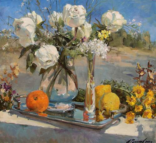 Painting Azat Galimov. The Still life with white roses.  Cyprus.