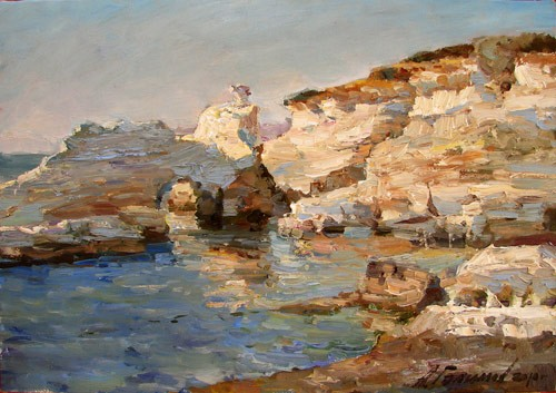 Painting Azat Galimov. Evening on the shores of Coral Bay.