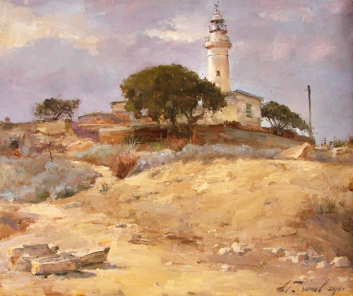Painting Azat Galimov. The path to the lighthouse. Paphos.