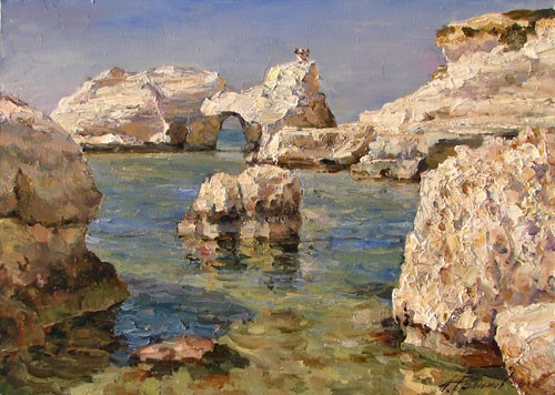 Painting Azat Galimov.White Cliffs of Coral Bay.