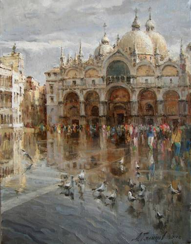 Painting Azat Galimov.Piazza San Marco. City on the water