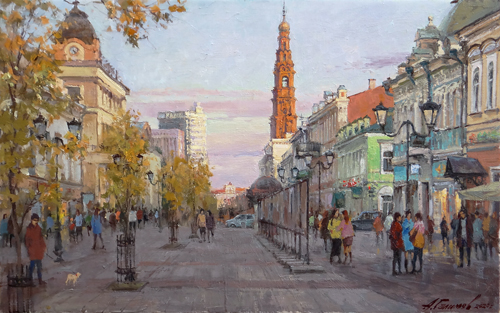 Painting by Azat Galimov.Walk around Kazan. View of the tower of the Epiphany Cathedral.