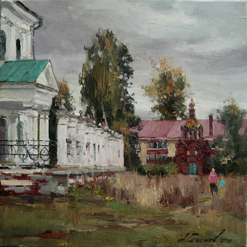 Painting by Azat Galimov.Elabuga is autumn. Behind the Spassky Cathedral.