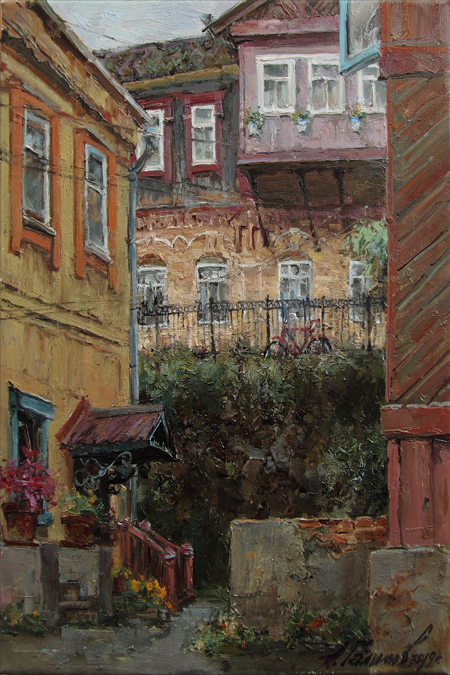 Painting by Azat Galimov.At the house SIBERIA. Courtyards of Vladivostok.