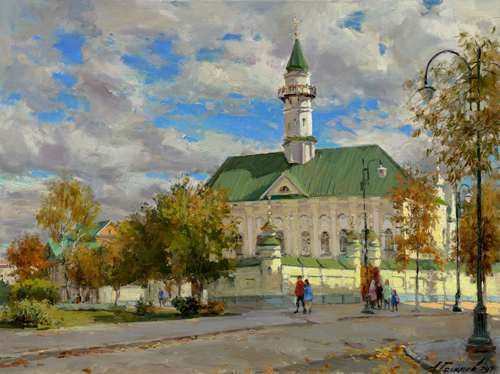 Painting by Azat Galimov.The sky above the minaret. Novo-Tatar settlement, Al Marjani Mosque.
