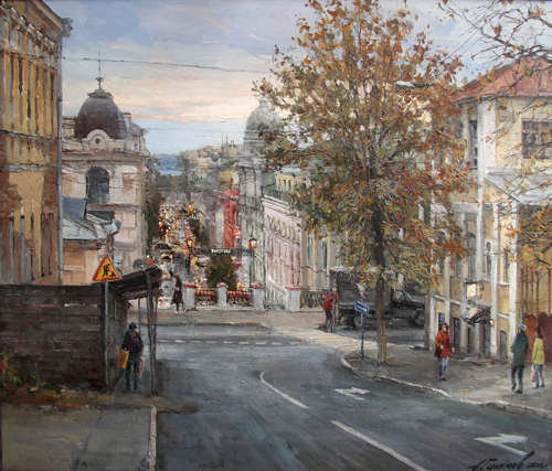 Painting by Azat Galimov.From the life of the city. Autumn Kazan.