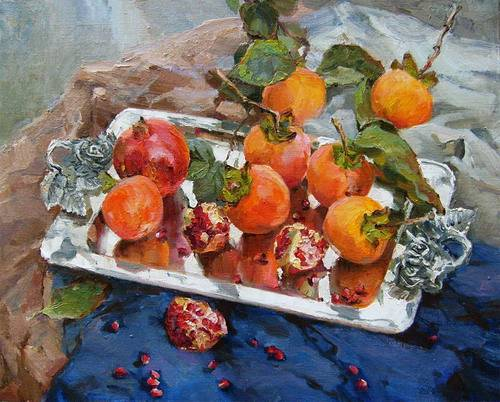 Painting Azat Galimov.Persimmons and pomegranates 2.