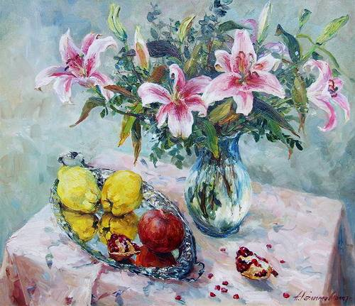 Painting Azat Galimov.Lilies and Fruit .