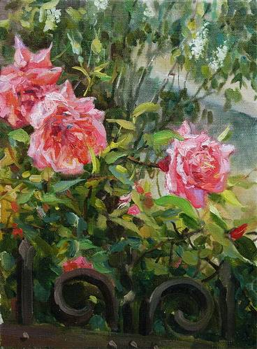 Painting Azat Galimov.Roses in the Garden.