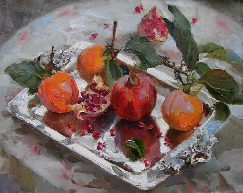Painting Azat Galimov. Persimmons and pomegranates .