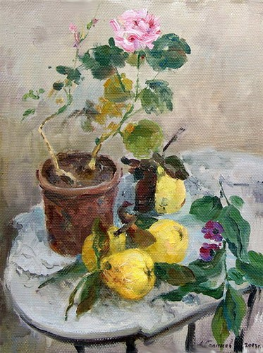 Painting Azat Galimov.Still Life with quince.