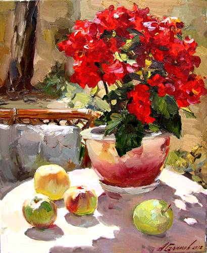 Painting Azat Galimov.Still Life with Begonia.