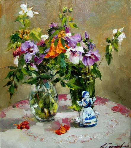 Painting Azat Galimov.Still life with porcelain figurine.