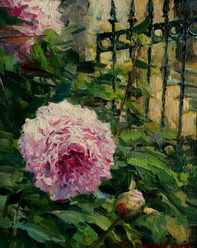 Painting Azat Galimov.At the garden fence.