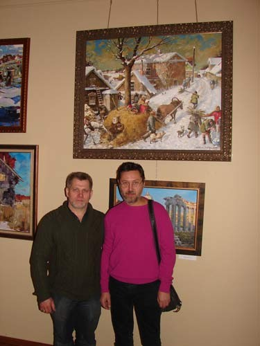 Photo. Azat Galimov and Vasily Shevchuk in exhibition halls.