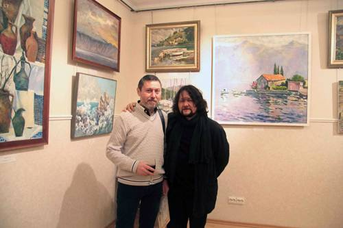 Photo.Artists Galimov Azat and Tuman Zhumabaev.