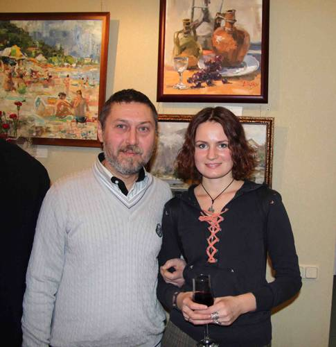 Photo. Artists Galimov Azat and Margarita Kolobov.