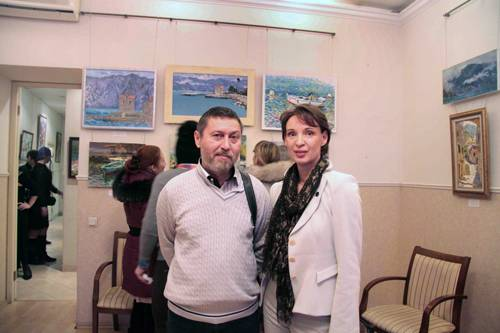 Photo. Artists Azat Galimov and Elena Komarova.