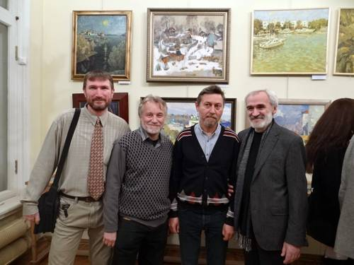 Photo. Participants of the exhibition: Ivan Vityuk, Anatoly Annenkov, Galimov Azat and Anatoly Lukash.
