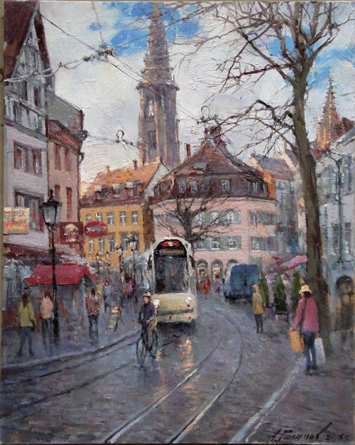 Painting  Azat Galimov for sale. Freiburg in the early spring. Germany