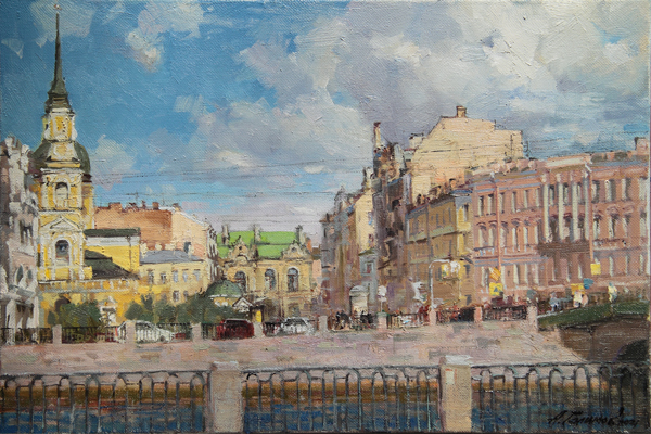 Artworks by Azat Galimov for sale. In the city of snow. Griboyedov Canal.
