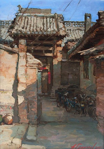 Painting. Azat Galimov. artwork Impressions of China. Pingyao. Old street.