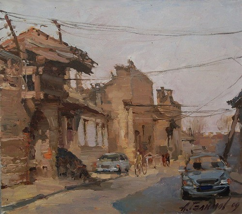 Painting. Azat Galimov. artwork On the streets of the old city Pingyao, Shanxi.