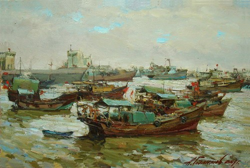 Painting. Azat Galimov. artwork In the Pearl Sea. Zhuhai.