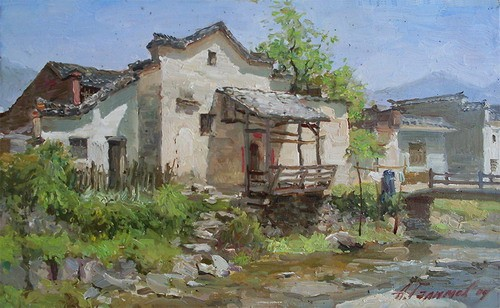 Azat Galimov. artwork House near the stream in Anhui Province .