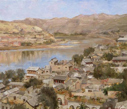 Painting.  Azat Galimov. artwork View of the Huang Ho. Chico.