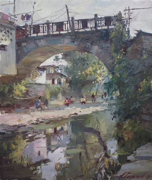 Painting.  Azat Galimov. artwork Under the canopy of an old bridge