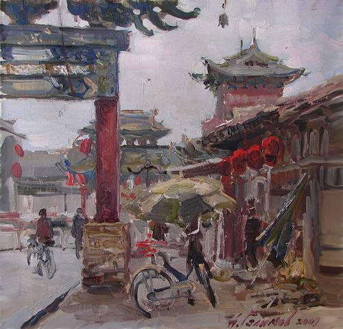 Painting. Azat Galimov. artwork Pingyao. On busy streets.
