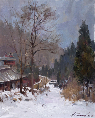 Painting.Azat Galimov. Artwork In the vicinity of the monastery, Good cloud. Hunan.