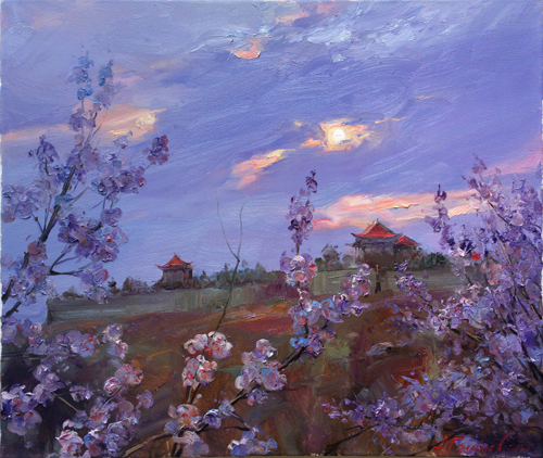Painting.  Azat Galimov. Artwork Evening melody. The scent of spring. China