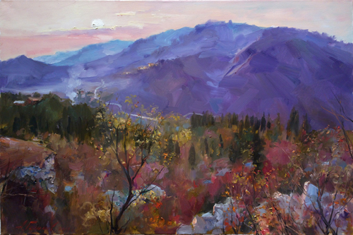Painting.Azat Galimov. Artwork Evening in the mountains Hengshan.