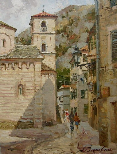 Painting. Montenegro. Old castle in Kotor.