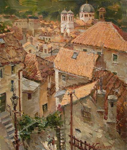 Painting.Montenegro. The roofs of the old Kotor.
