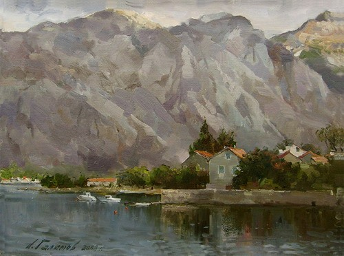Painting.Montenegro. Evening mood.