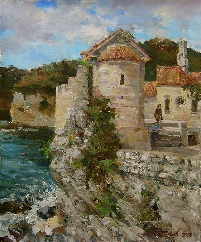 Painting.Montenegro. Budva on a sunny day.