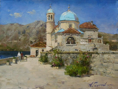 Painting.Montenegro. Church of the Assumption of the Virgin.