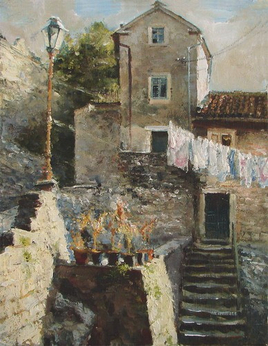 Painting.Montenegro. Kotor. On the way to the Citadel.