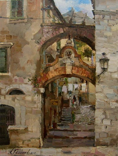 Painting.Montenegro. Kotor. The main entrance to the Citadel.