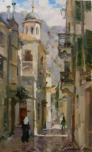 Painting.Montenegro. Old Castle Street.